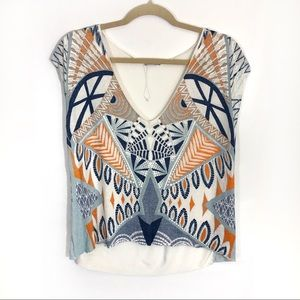 Zara plunge V neck abstract print graphic tee